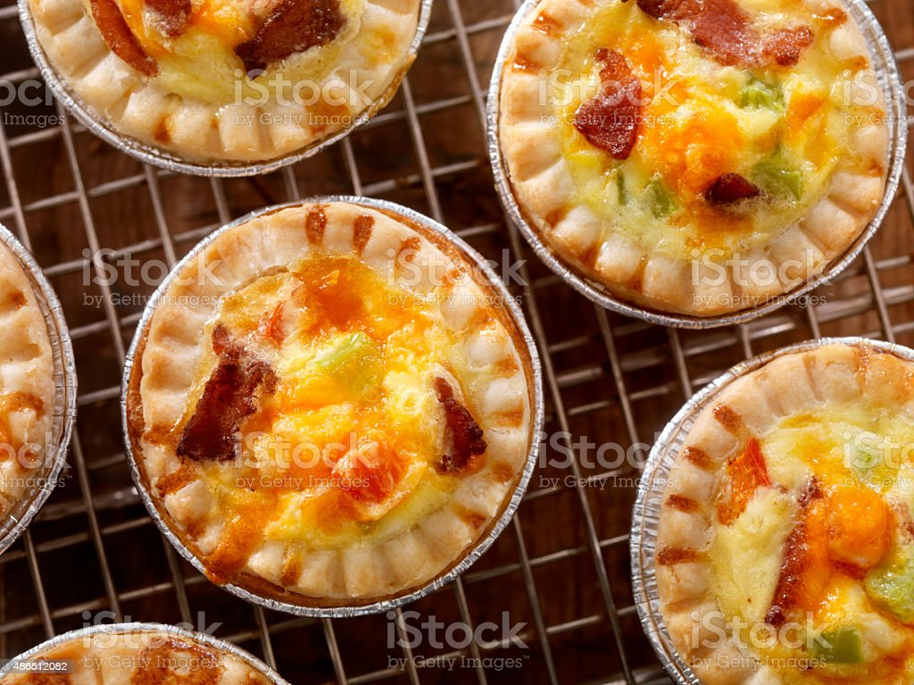 Mini Quiche with Bacon and Cheddar Cheese stock photo