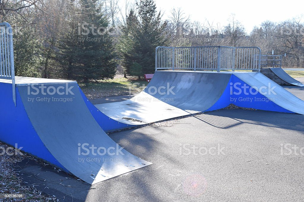 Mini Ramp Skatepark Ramps Blue And Black stock photo