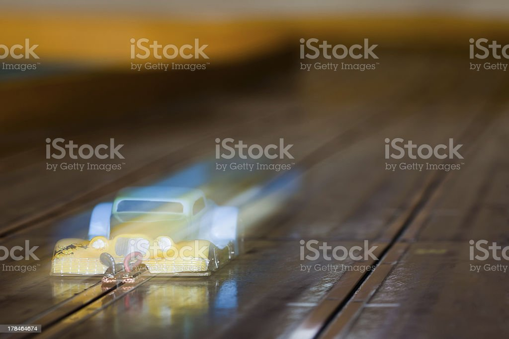 Mini RC slot car on racing track royalty-free stock photo