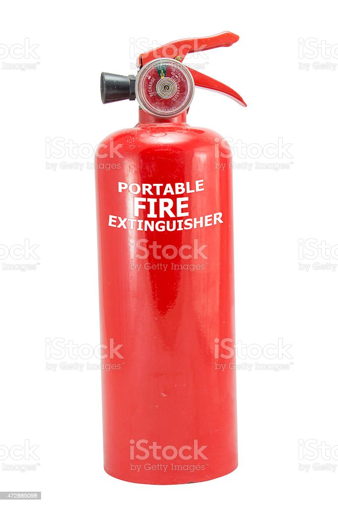 mini red portable fire extinguisher on white background stock photo