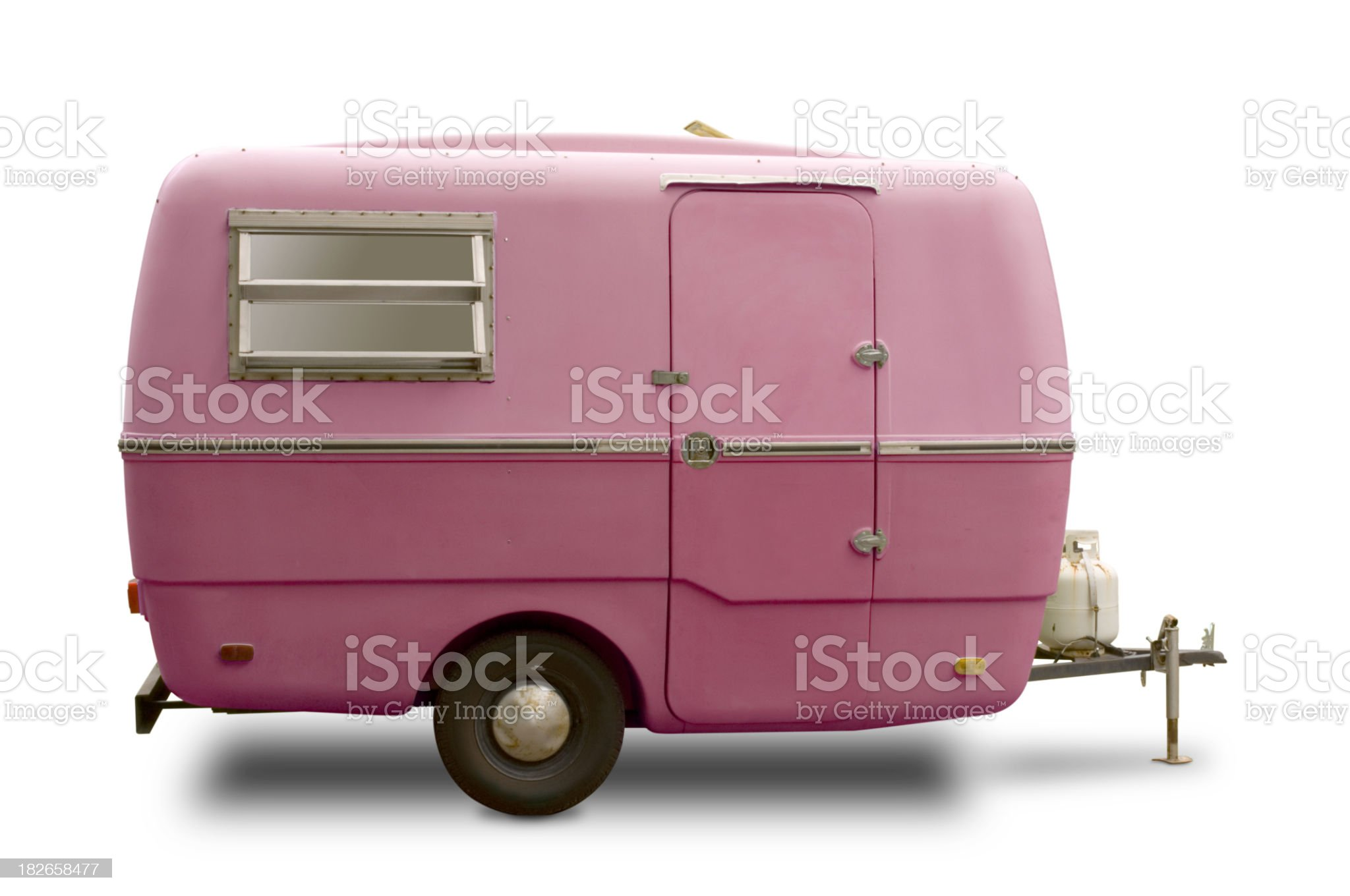 Mini RV Pink Trailer royalty-free stock photo