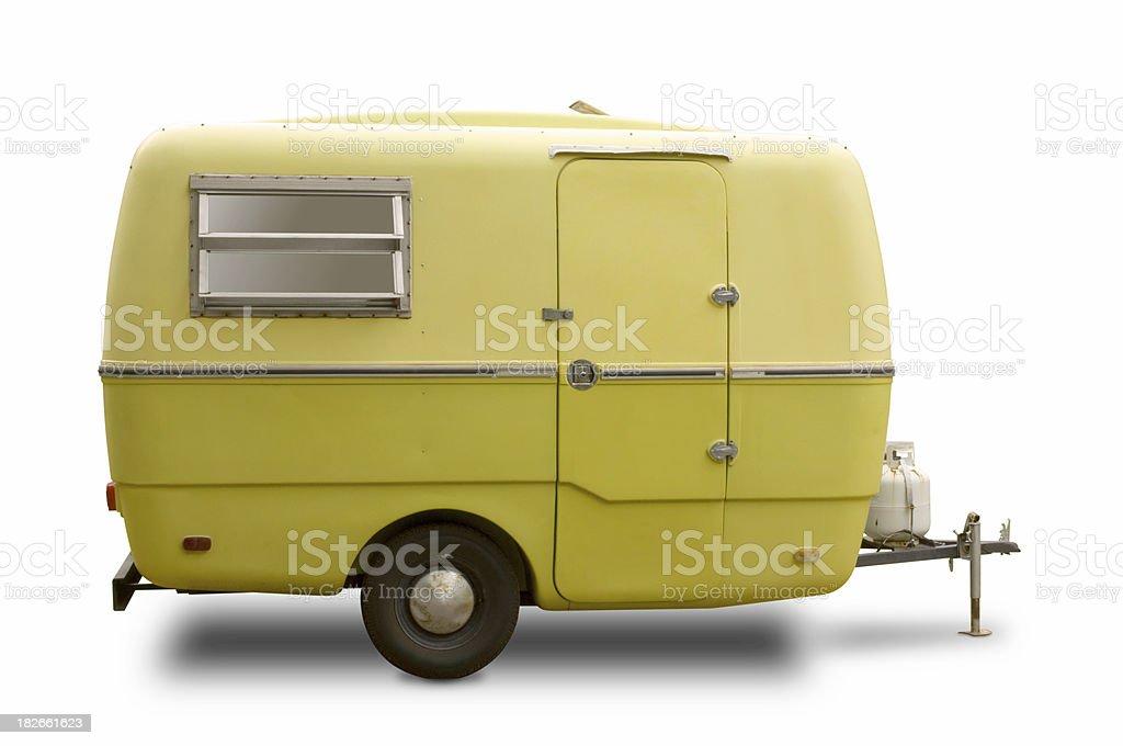 Mini RV Yellow Trailer stock photo