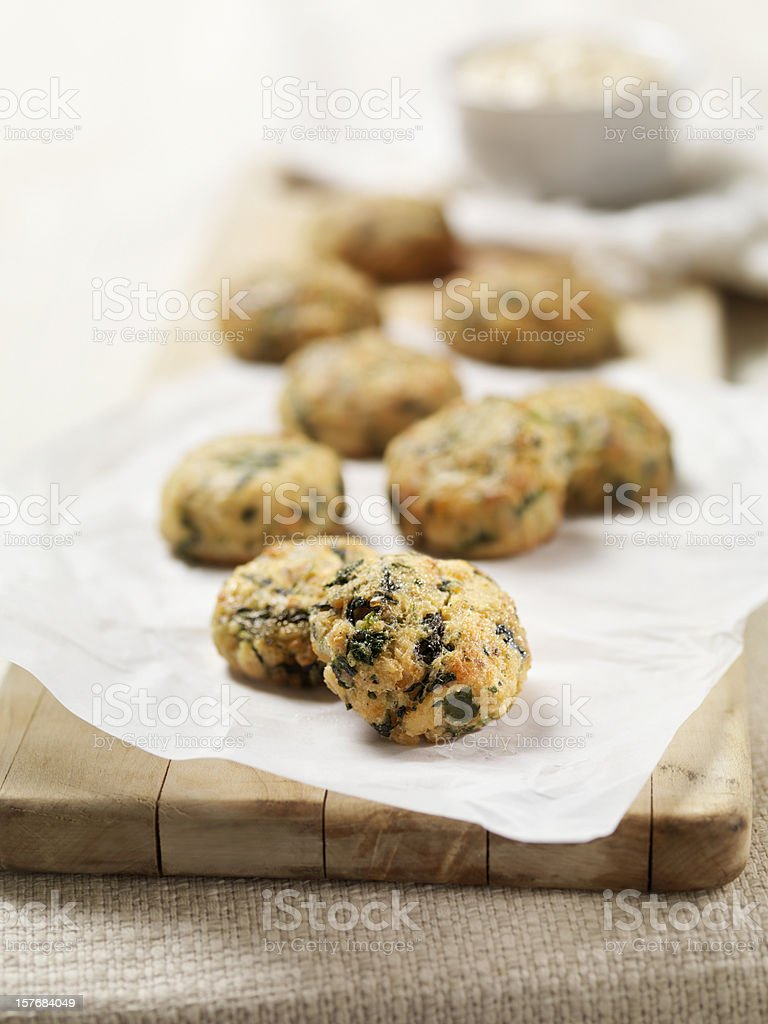 Mini Salmon Cakes with Spinach and Spicy Mayo royalty-free stock photo
