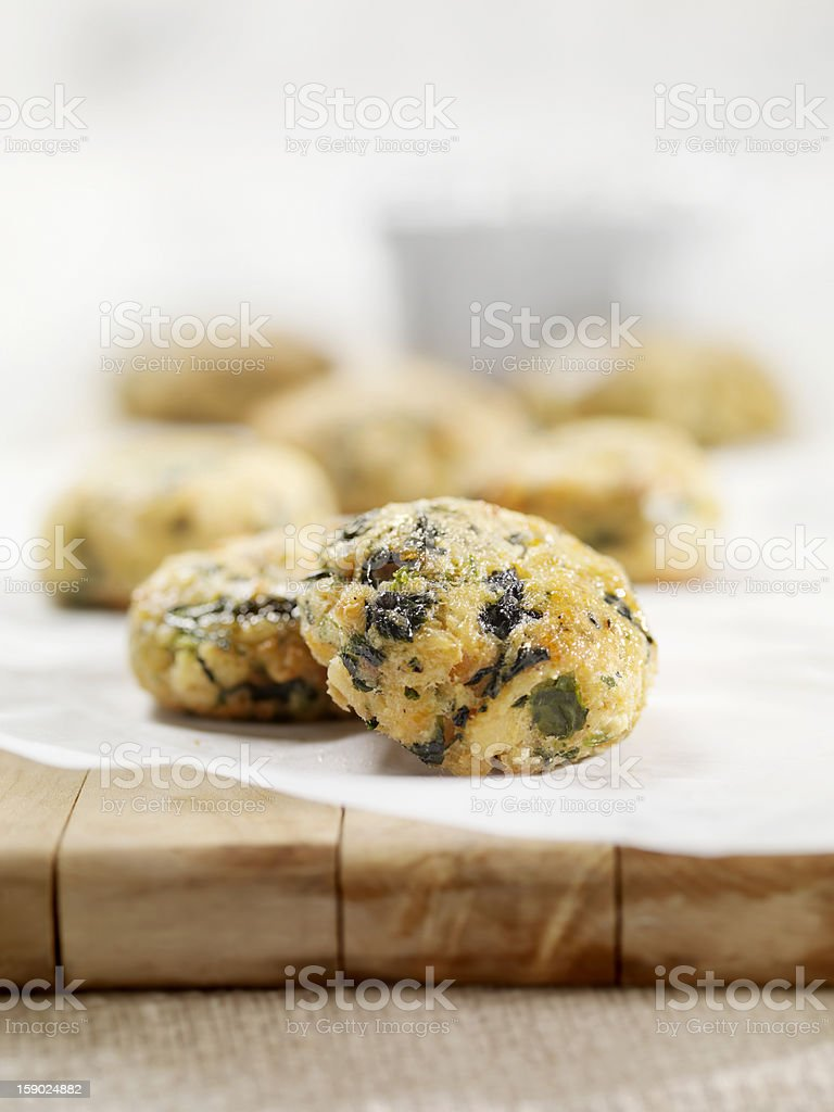 Mini Salmon Cakes with Spinach and Spicy Mayo stock photo