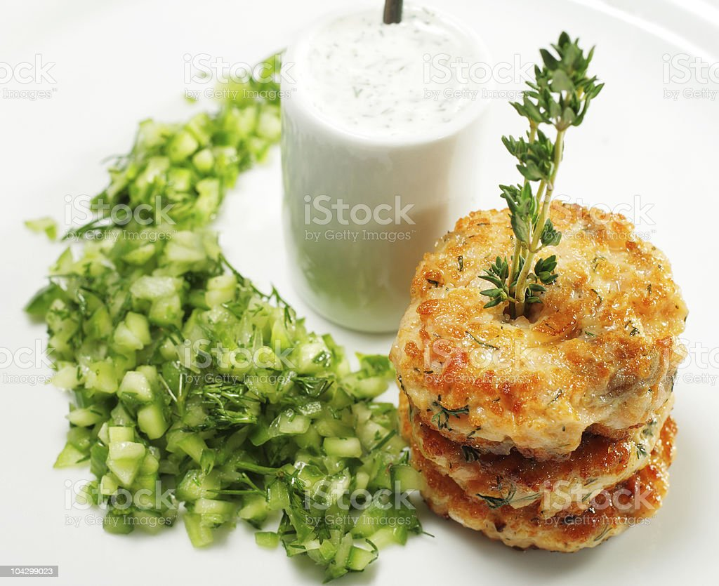 Mini Salmon Steak with Cucumber Fresh royalty-free stock photo