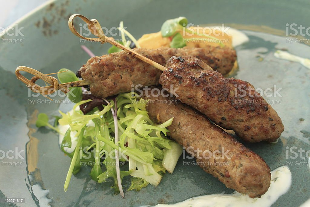 mini shish kofta kofte kebab canape appetizer stock photo