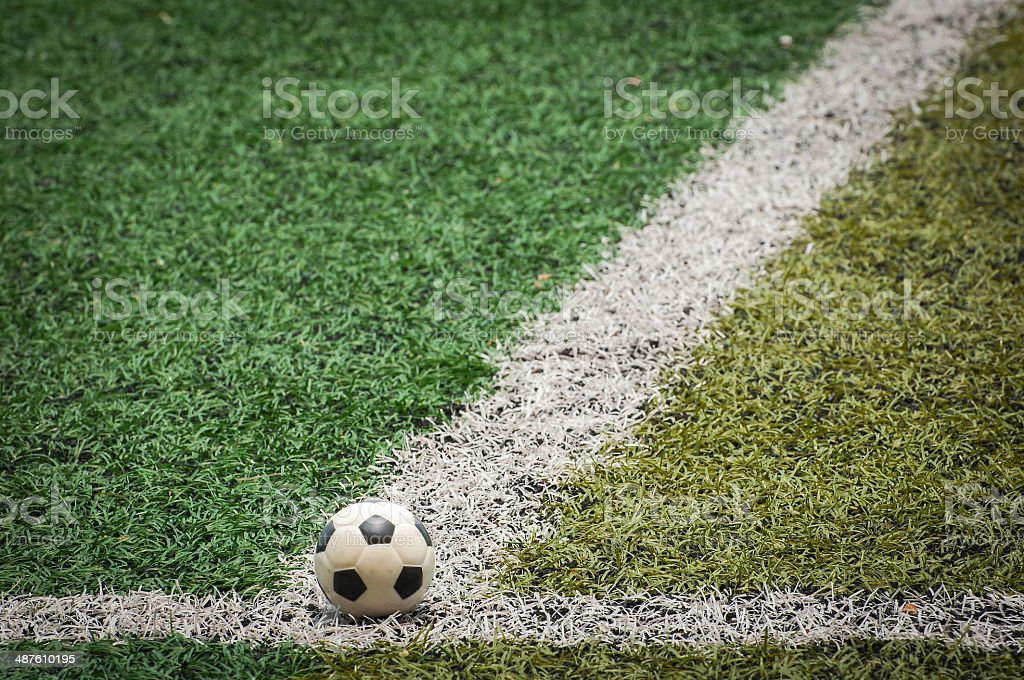 Mini Soccer ball at the Artificial turf stock photo