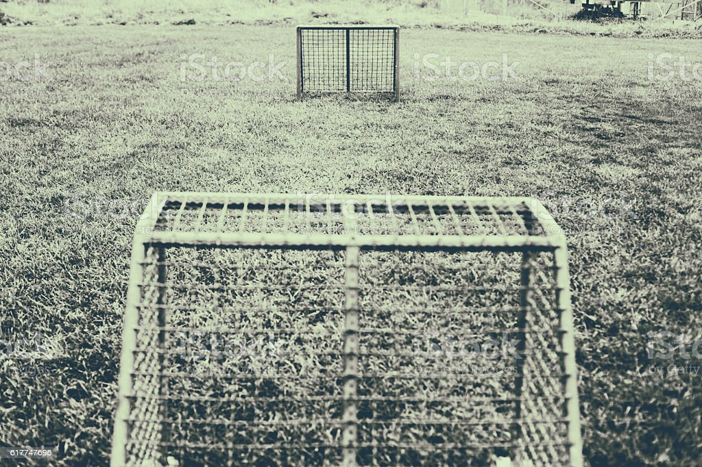 Mini soccer goal stock photo