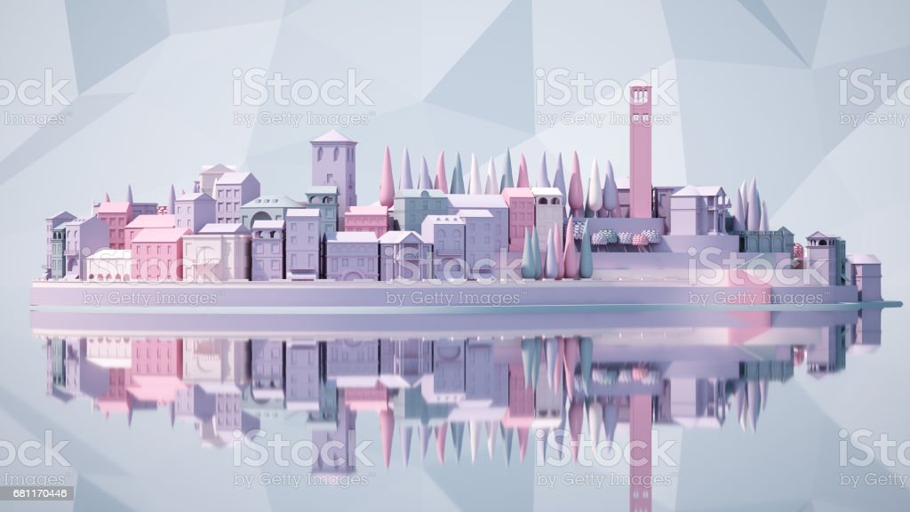 Mini toy Old city down town on small iland, 3d rendering stock photo