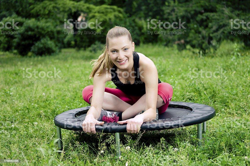 Mini trampoline stock photo