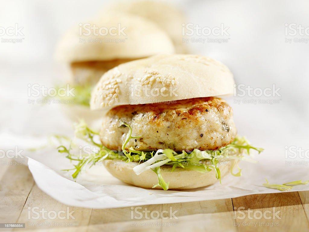 Mini Turkey Burgers with Arugula stock photo