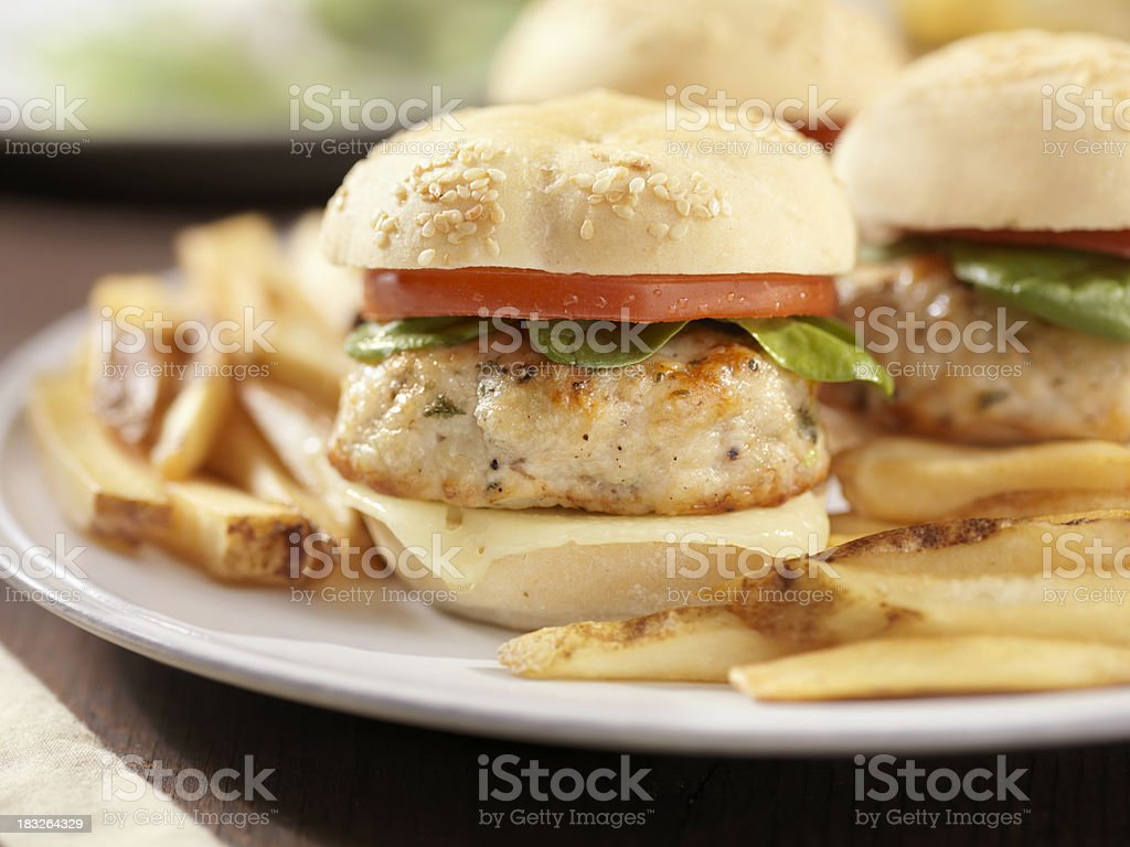 Mini Turkey Burgers with Spinach and Tomato stock photo