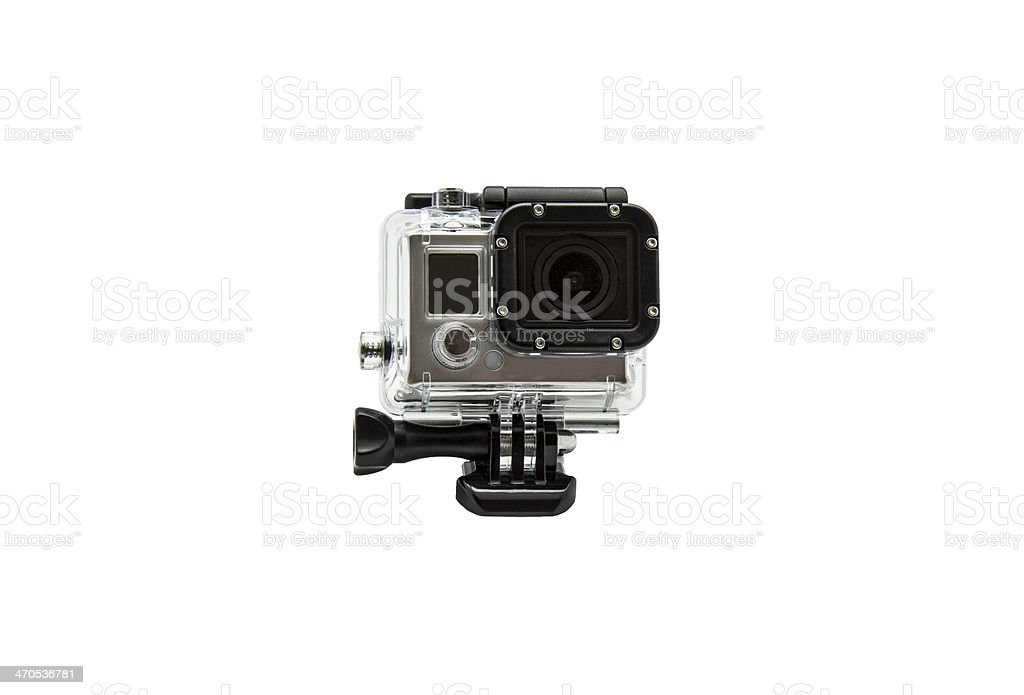 mini waterproof camera isolated on white background stock photo