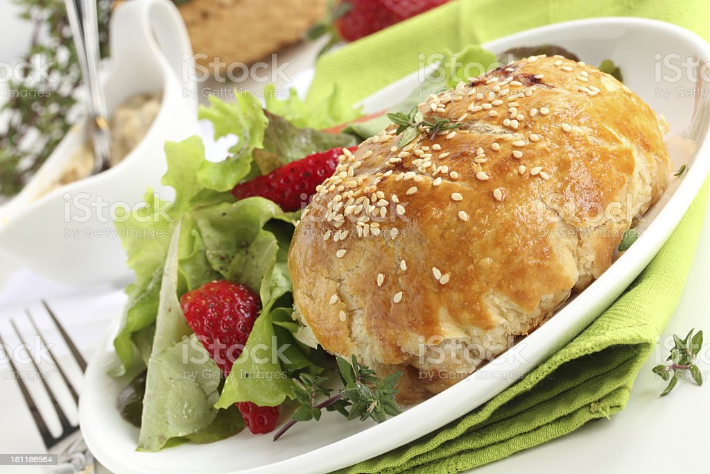 Mini wellington with salad. royalty-free stock photo