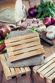 Mini Wooden palettes with Copy space in front Fresh Vegetables