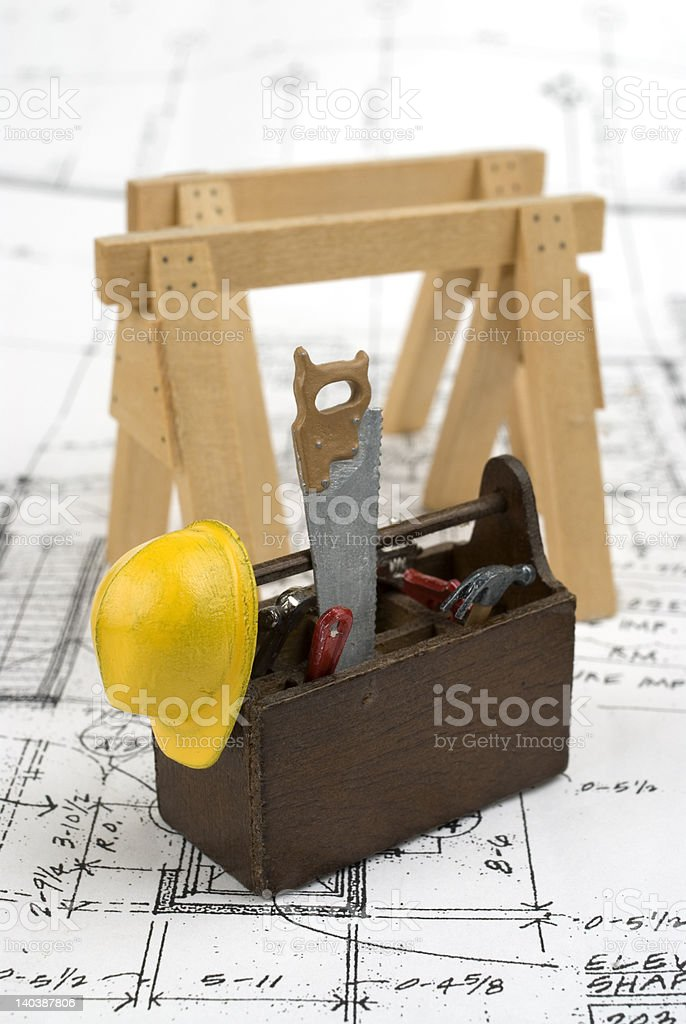 Miniaiture tools on house plans. royalty-free stock photo