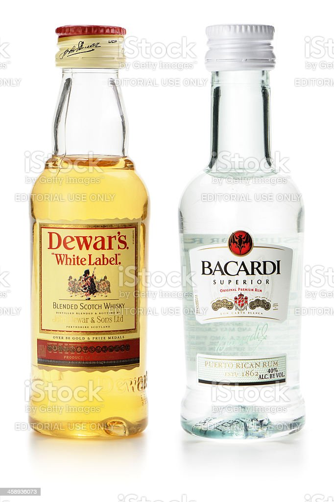 Miniature alcohol bottles stock photo