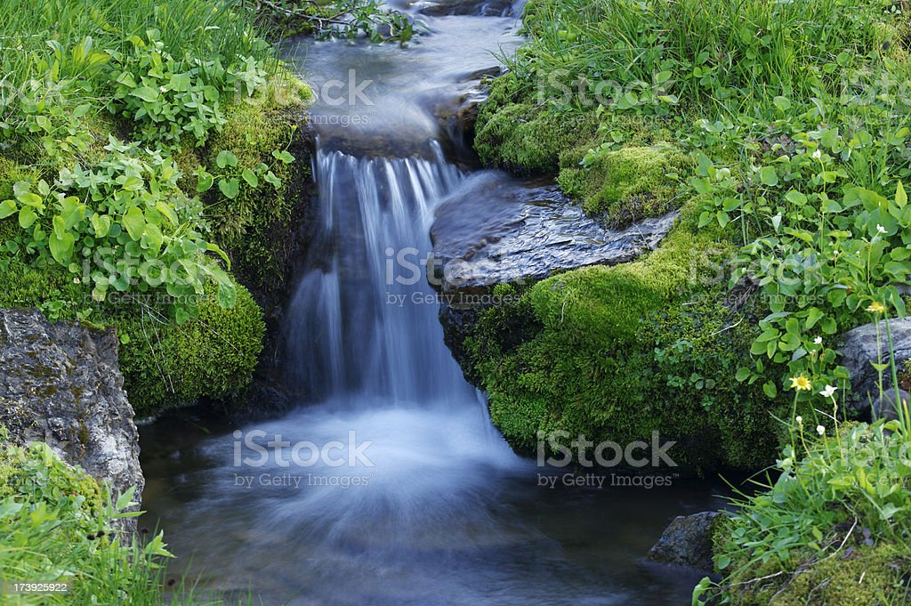 Miniature alpine waterfall stock photo