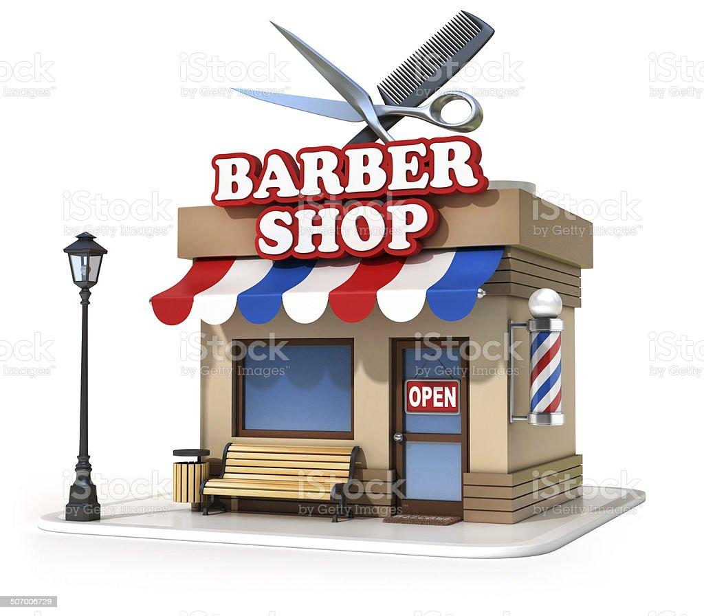 miniature barbershop 3d illustration stock photo