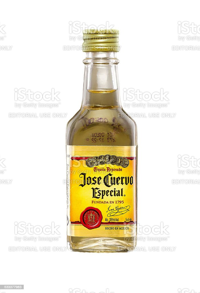 Miniature bottle of Jose Cuervo Especial Gold Tequila stock photo