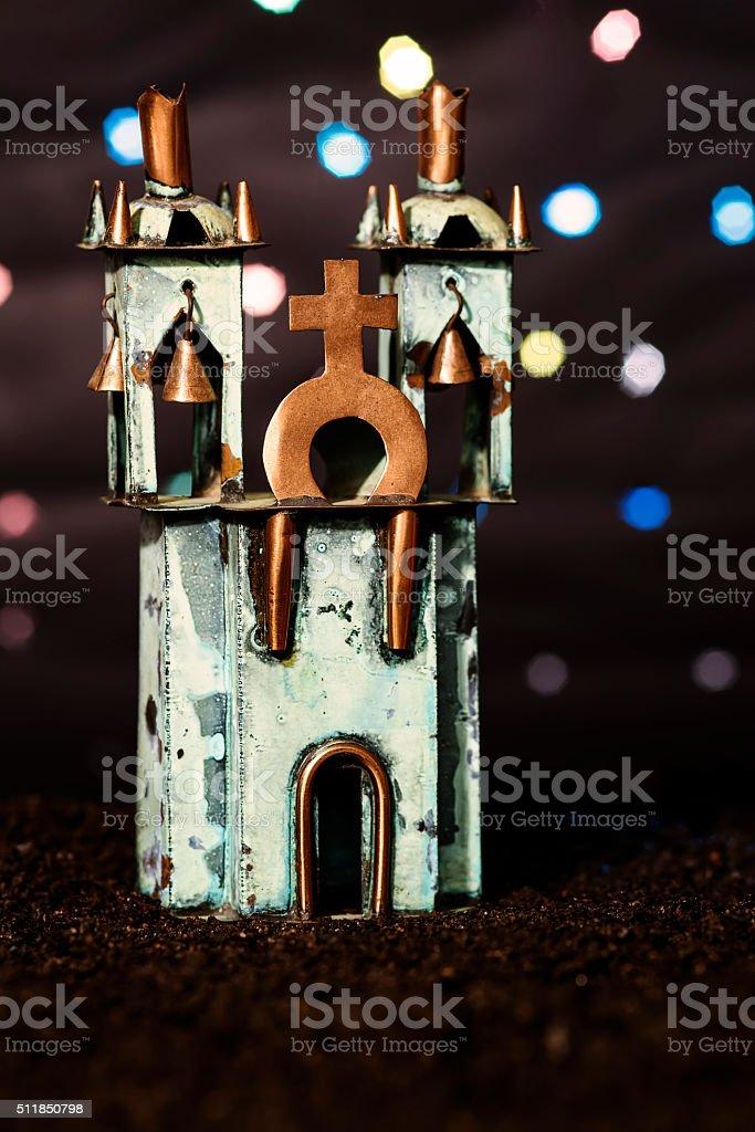 Miniature church, in a dark background stock photo