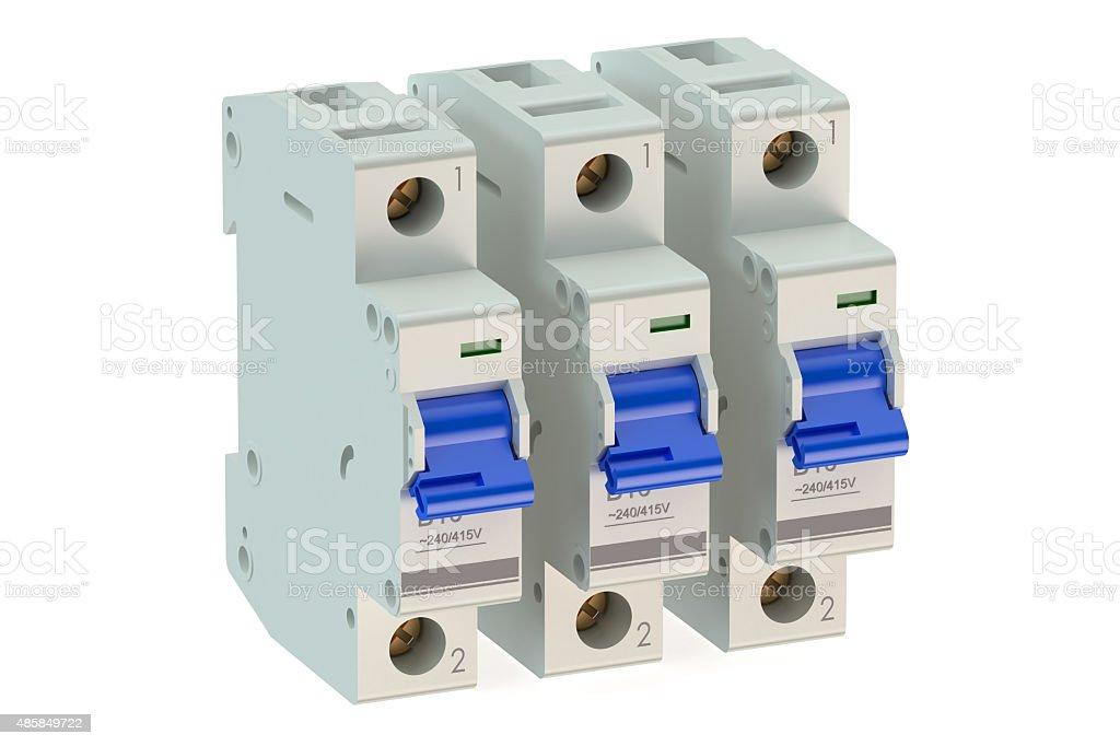 Miniature circuit breakers stock photo