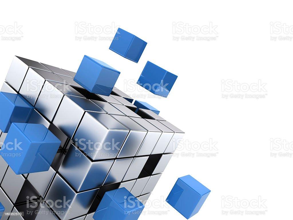 Miniature cubes assembling onto a bigger cube stock photo