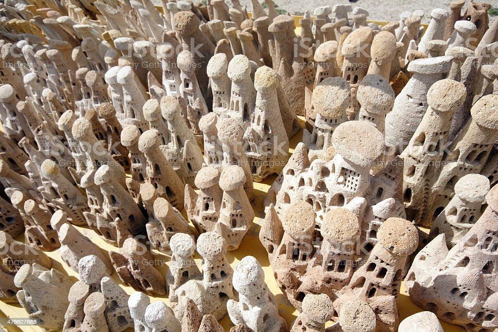 Miniature fairy chimneys in Cappadocia, Turkey stock photo