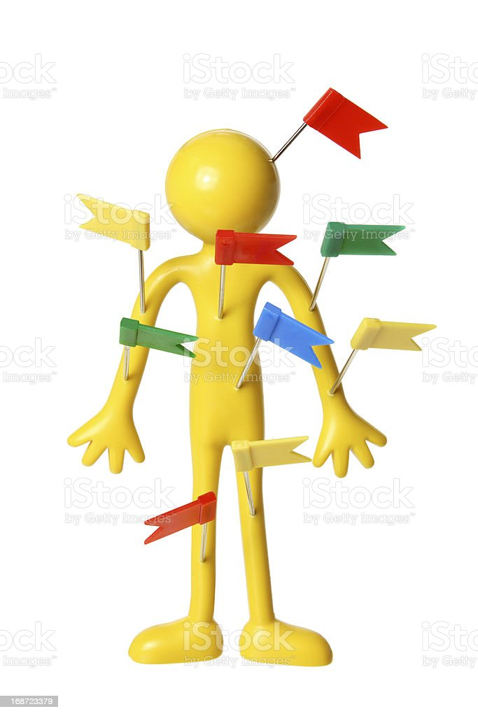 Miniature Figure with Plastic Tags royalty-free stock photo