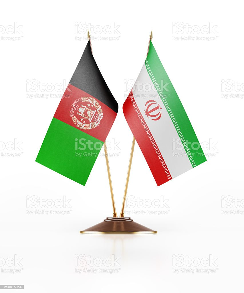 Miniature Flag of Afghanistan and Iran stock photo