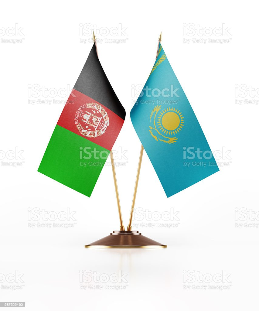 Miniature Flag of Afghanistan and Kazakhstan stock photo