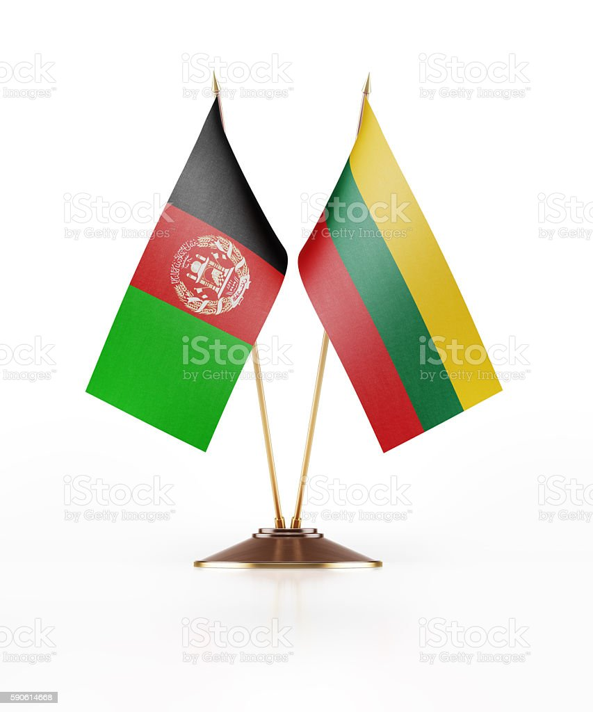 Miniature Flag of Afghanistan and Lithuania stock photo