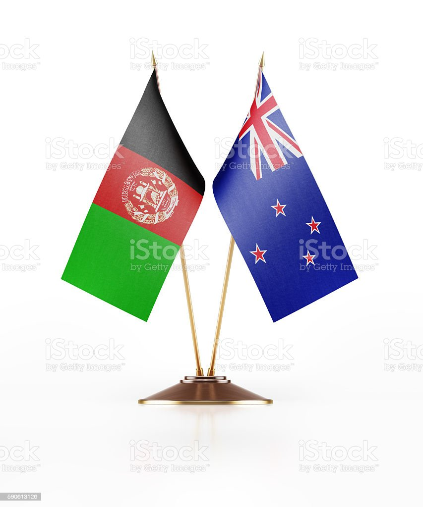 Miniature Flag of Afghanistan and New Zealand stock photo