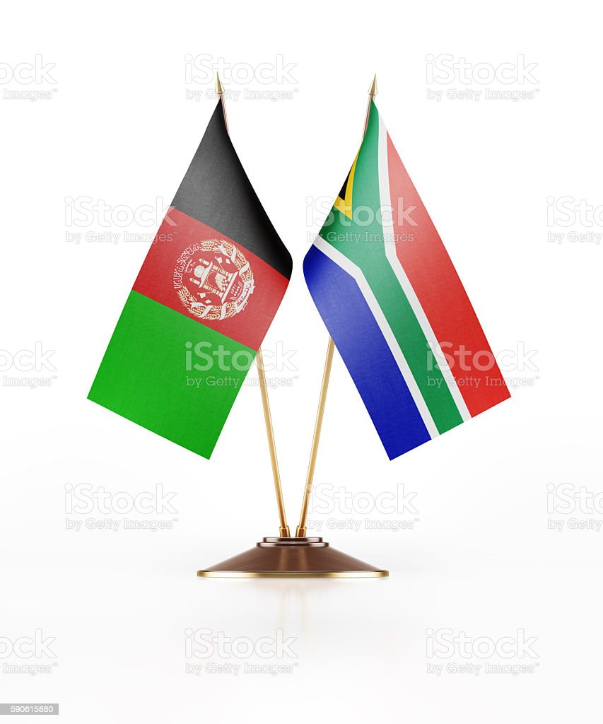 Miniature Flag of Afghanistan and South Africa stock photo
