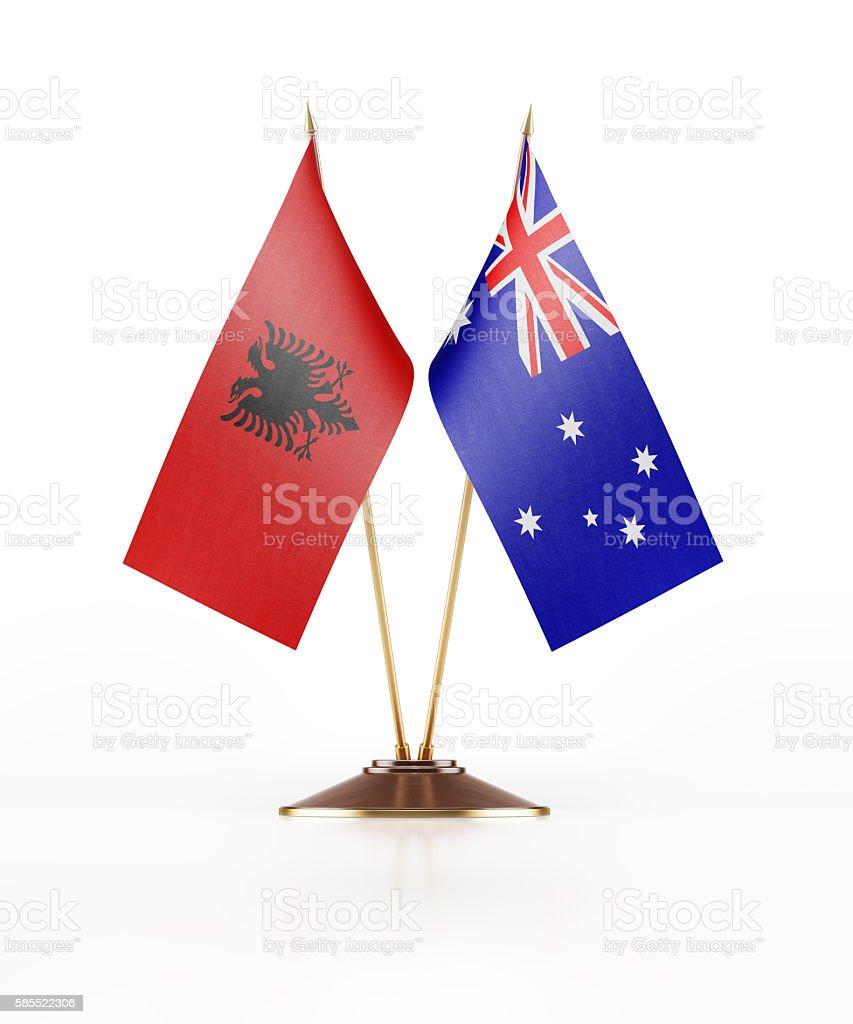 Miniature Flag of Albania and Australia stock photo