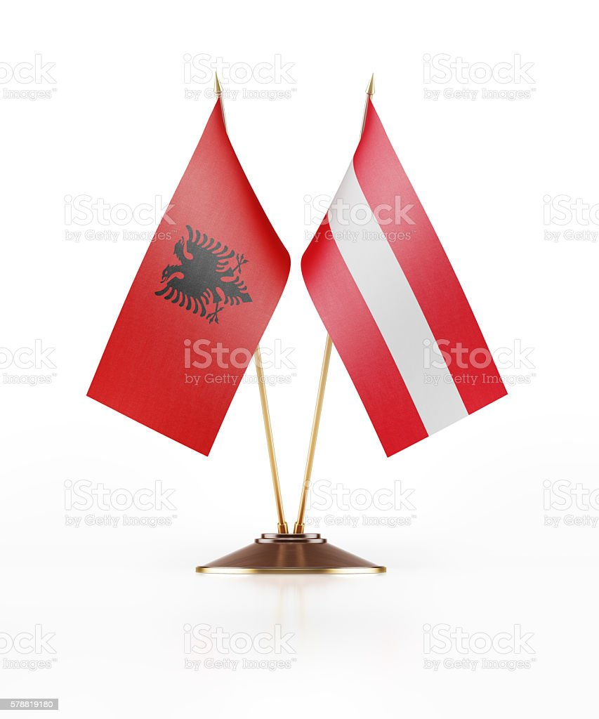 Miniature Flag of Albania and Austria stock photo