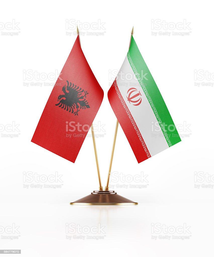 Miniature Flag of Albania and Iran stock photo