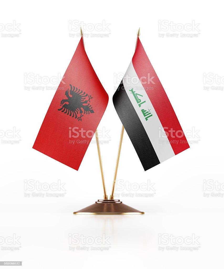 Miniature Flag of Albania and Iraq stock photo