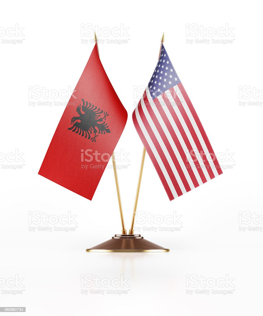 Miniature Flag of Albania and United States of America stock photo