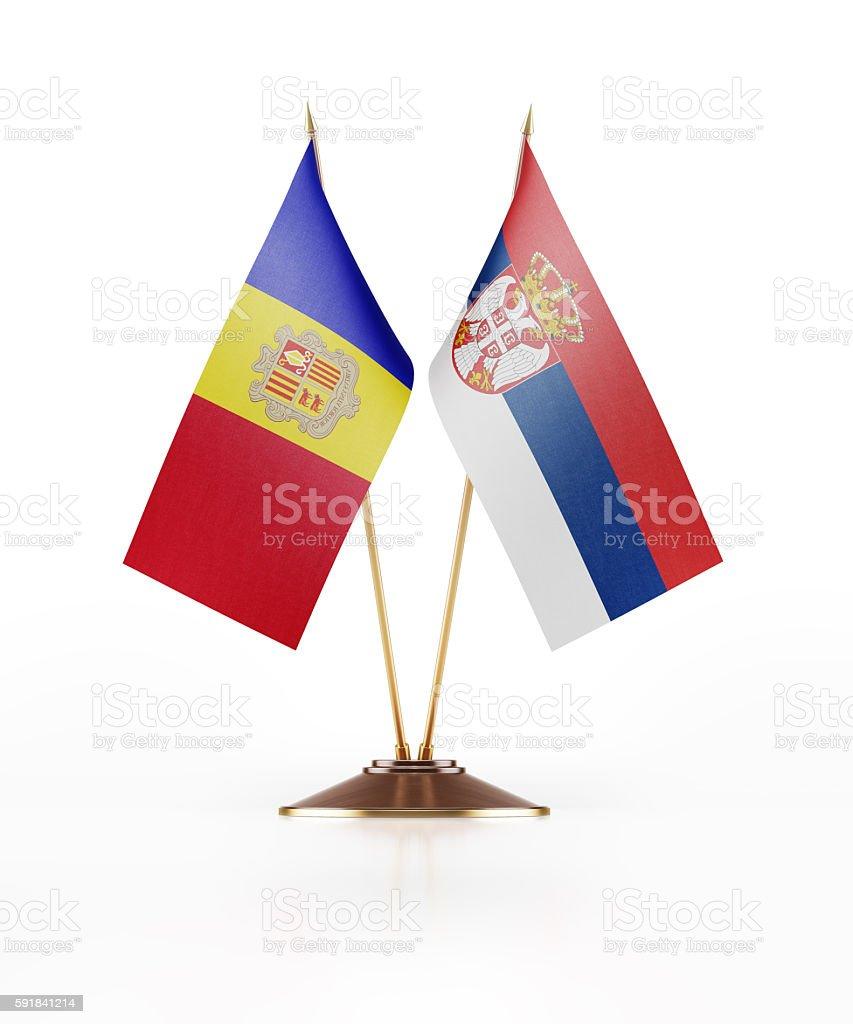Miniature Flag of Andorra and Serbia stock photo
