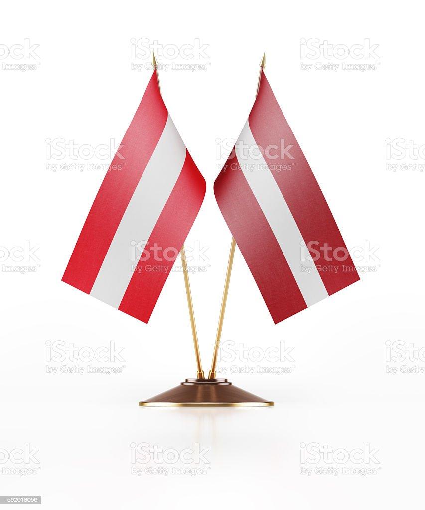 Miniature Flag of Austria and Latvia stock photo