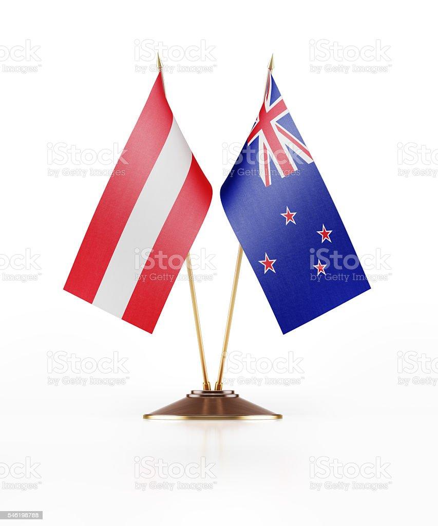 Miniature Flag of Austria and New Zealand stock photo