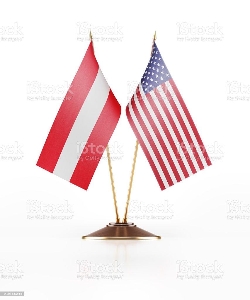 Miniature Flag of Austria and United States of America stock photo