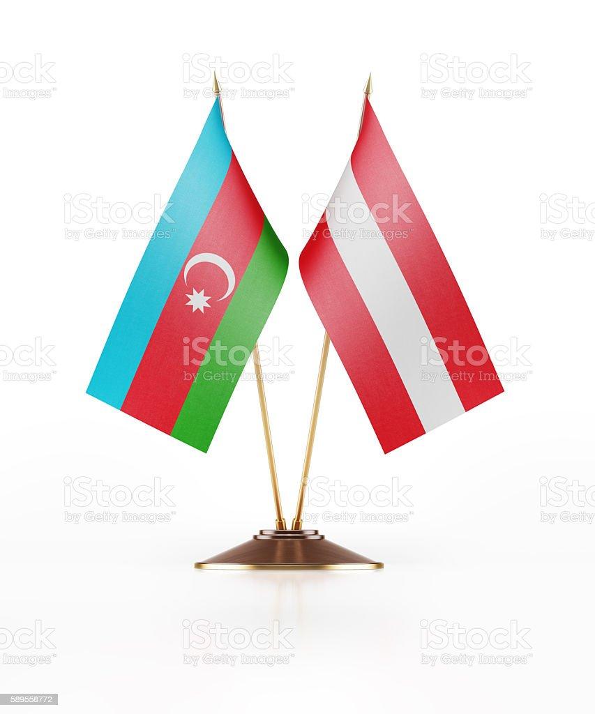 Miniature Flag of Azerbaijan and Austria stock photo