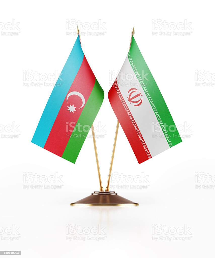Miniature Flag of Azerbaijan and Iran stock photo