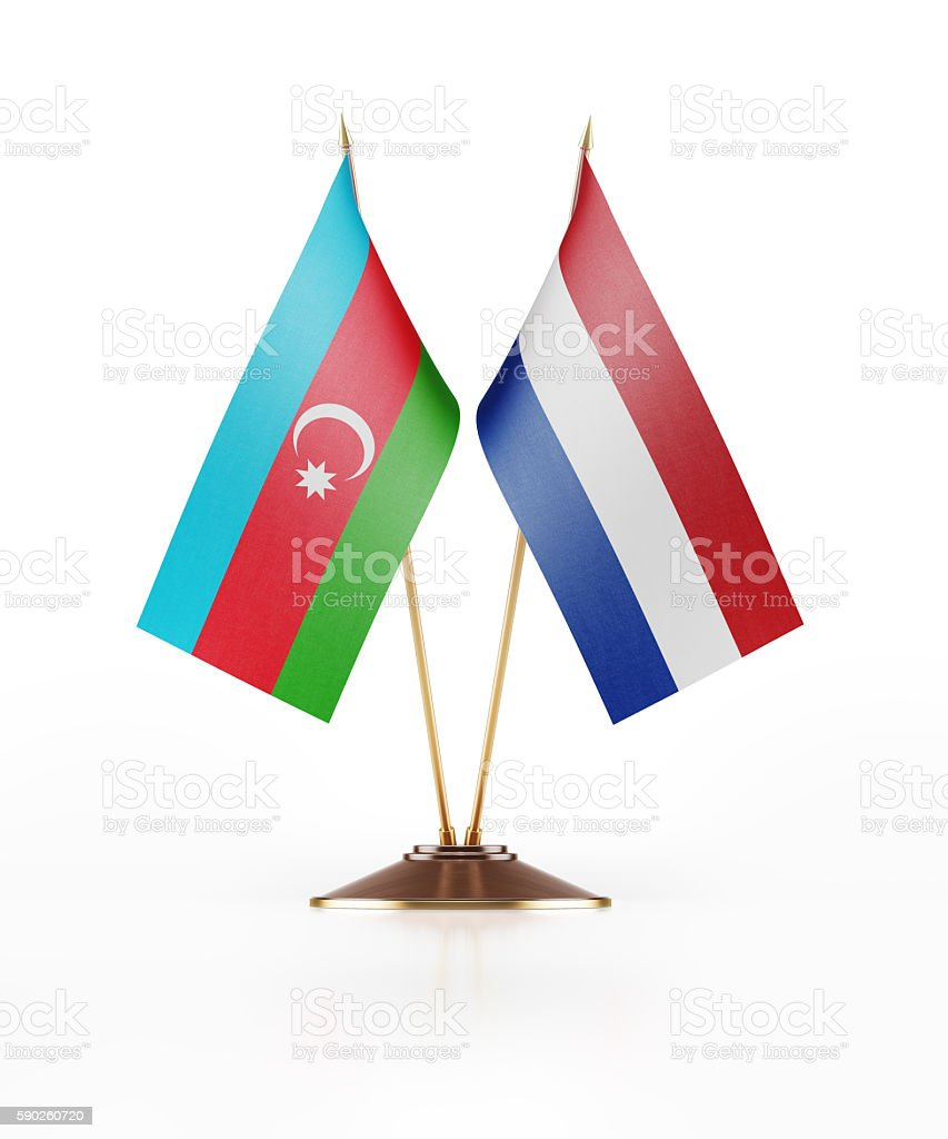 Miniature Flag of Azerbaijan and Netherlands stock photo