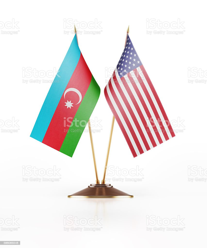 Miniature Flag of Azerbaijan and United States of America stock photo