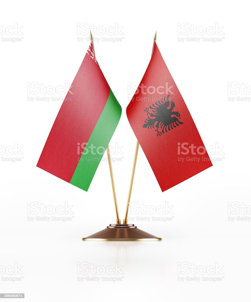 Miniature Flag of Belarus and Albania stock photo