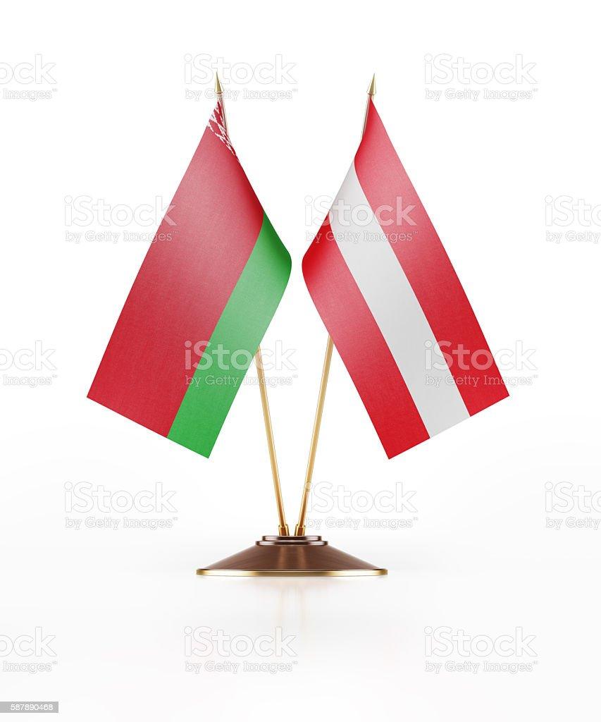Miniature Flag of Belarus and Austria stock photo