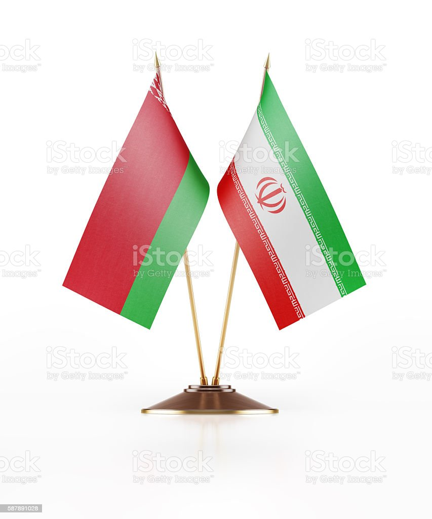 Miniature Flag of Belarus and Iran stock photo